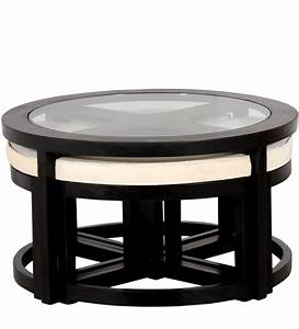 Black forest round coffee table with 4 stools by for Black coffee table with stools