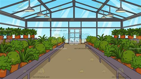 inside a greenhouse background clipart vector
