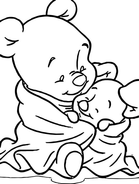 baby pooh piglet blanket coloring page wecoloringpagecom