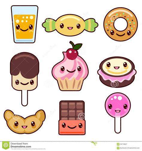 Caráteres Do Alimento Do Kawaii Dos Doces Ilustração Do