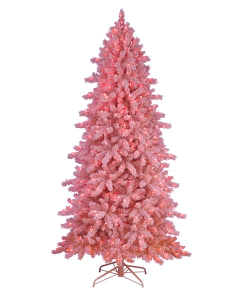 pink frosting flocked artificial tree treetopia