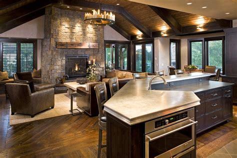 raised kitchen floor raised kitchen island family room rustic with 1713