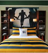 Sports Themed Bedroom Accessories Rush The Field Wall Mural Above The Bed The Theme Of This Room Needs