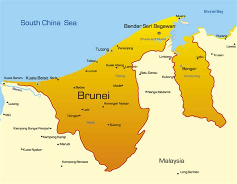 Brunei Map Showing Attractions & Accommodation