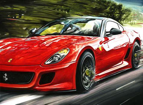 Ferrari 599 Gto Sport Luxury Car  Art Print Poster Hand