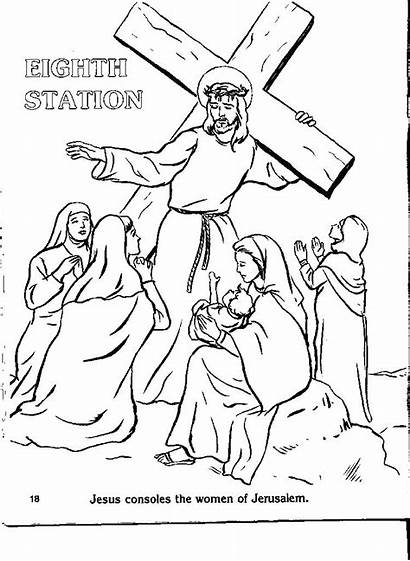 Cross Coloring Stations Pages Catholic Drawing Crosses
