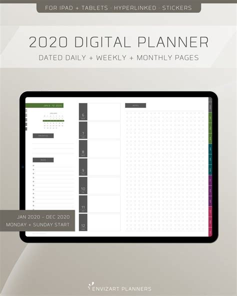 digital planner dated daily weekly monthly etsy