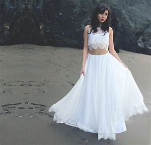 crop top two piece bohemian wedding dress with silk With crop top wedding dress