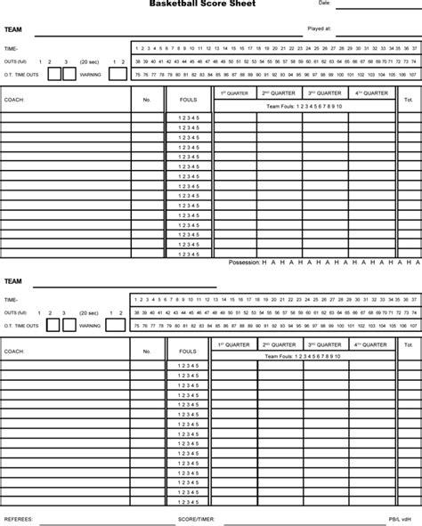 printable basketball score sheets