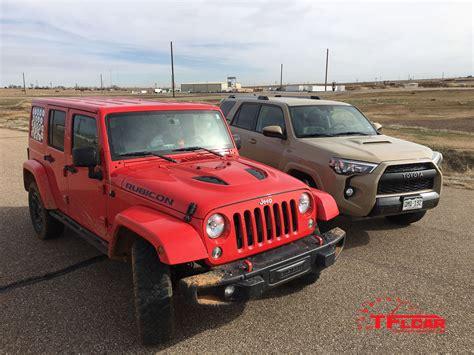 racing jeep wrangler jeep wrangler rubicon vs toyota 4runner trd pro drag race