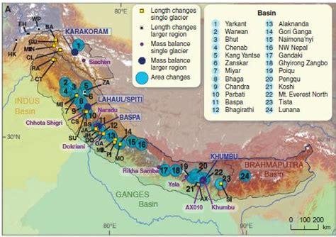map of himalayan ranges shrinking himalayan glaciers