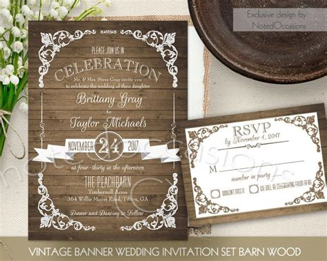 diy vintage rustic wedding invitations rustic wedding invitation printable set country wedding