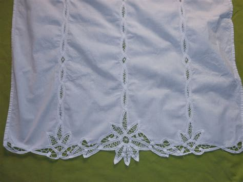 reserved 3 vintage battenburg lace curtains white cotton