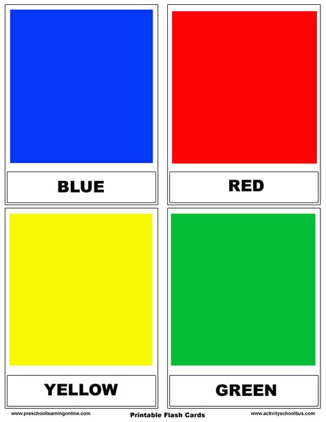 Learn Color Flashcards For Kids - Preschool Learning Online