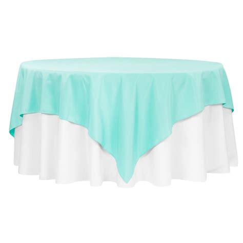 """Economy Polyester Tablecloth 90""""x90"""" Square Turquoise"""