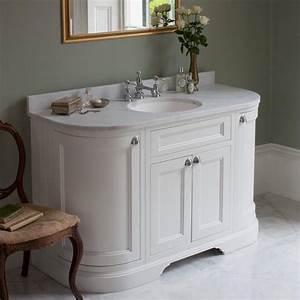 burlington matt white 1340mm curved freestanding vanity With curved bathroom units