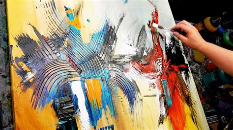 abstract painting demonstration  acrylics brush knife