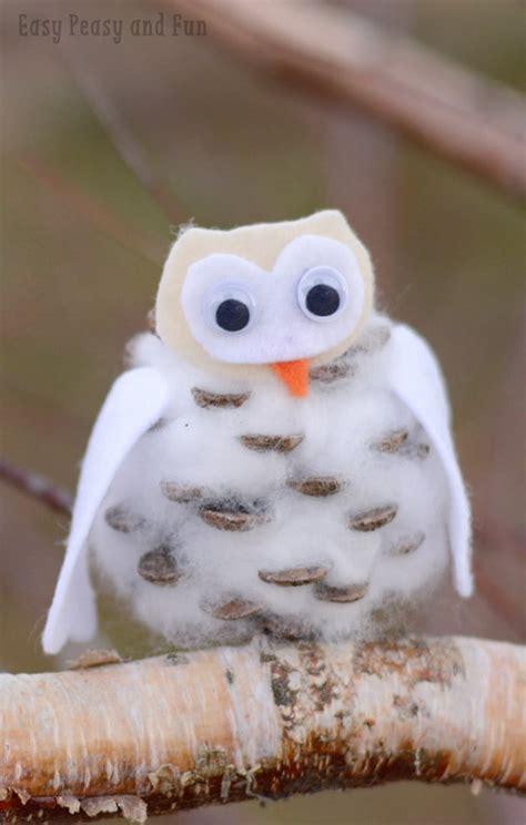 pinecone winter owls craft easy peasy  fun