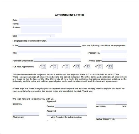 appointment letter templates word excel samples