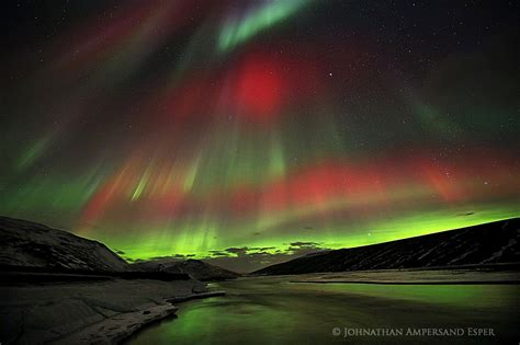 iceland in february northern lights red green auroras over blonduos iceland