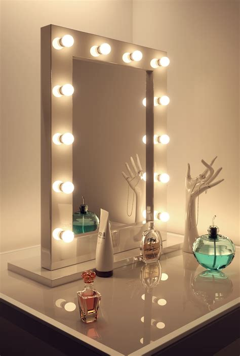 mirror with lights high gloss white makeup theatre dressing room