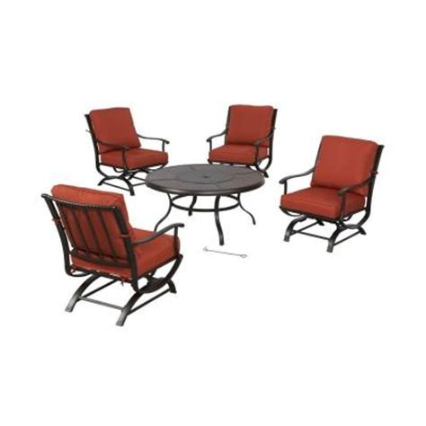 hton bay redwood valley 5 patio seating set with