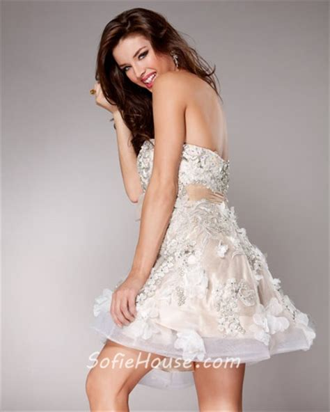 Elegant A Line Sweetheart Shortmini Nudeivory Beaded