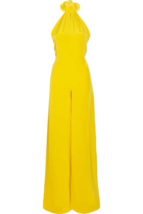 womens yellow jumpsuit chic evening jumpsuits for wardrobelooks com