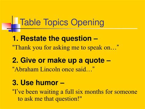 toastmasters table topics questions ppt table topics powerpoint presentation id 375653