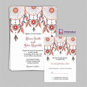 free pdf boho theme dreamcatchers wedding invitation and With free printable boho wedding invitations