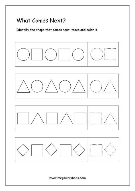 Free Pattern Identification Worksheets  What Comes Next? Megaworkbook