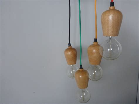 wooden bare bulb pendant