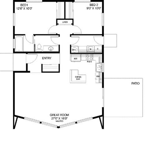 Modern Style House Plan  2 Beds 1 Baths 1040 Sqft Plan