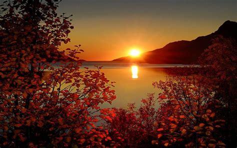 sunset lake beautiful landscape wallpaper