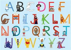 a3 childrens character alphabet free early years With children s alphabet letters