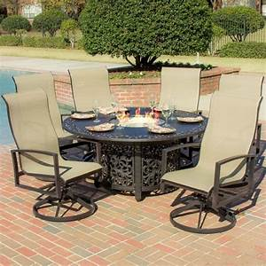 Outdoor swivel dining chairs ideas with dining table fire for Patio dining table with fire pit