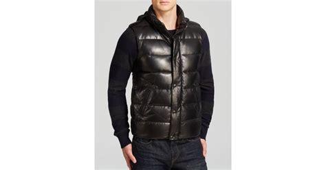 Mackage Joel Leather Down Vest In Black For Men