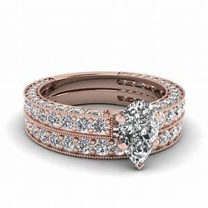 pear shaped diamond wedding ring set in 14k rose gold With pear shaped wedding ring set