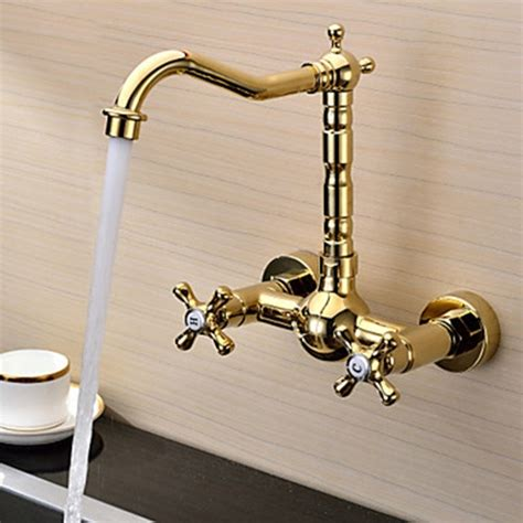 robinet mural cuisine retro ti pvd finish solid brass wall mount centerset two handles