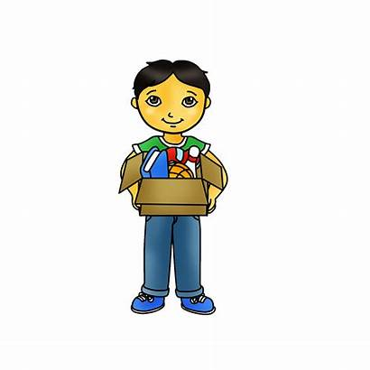 Clipart Holding Box Kid Clip Doing Chores