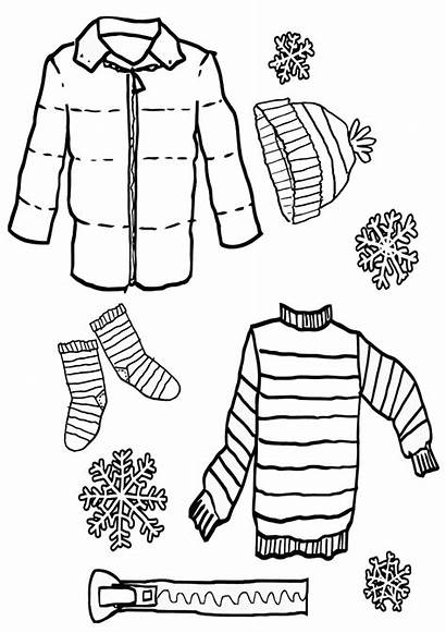 Coloring Clothes Winter Pages Stuff