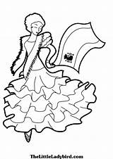 Spanish Coloring Pages Spain Flag Salsa Printable Getcolorings Clipartmag Woman sketch template