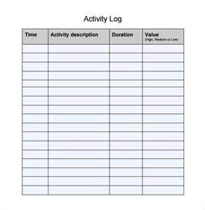 Activity Log Template Free