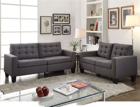 Gray Tufted Loveseat by Ealdun Contemporary Button Tufted Sofa Loveseat In Gray