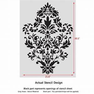 Damask Wall stencil pattern Ludovica for DIY Home decor ...