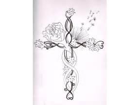 Cross and Flower Tattoo Designs