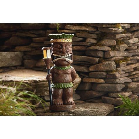garden oasis tiki statue with solar light solar lawn