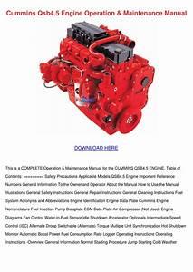 Cummins Qsb45 Engine Operation Maintenance Ma By