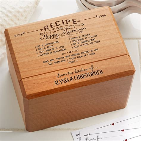 personalized wedding recipe box recipe   happy