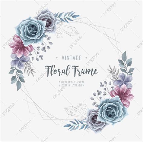 Vintage Watercolor Floral Flower Frame Background